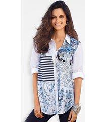 blouse met patchworkprint
