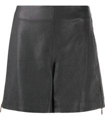 lorena antoniazzi leather zipped shorts - grey