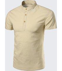 t-shirt a maniche corte in lino tinta unita da uomo estiva con colletto cinese pulsanti top tee
