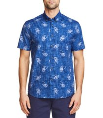 tallia men's slim fit cotton stretch short sleeve button down shirt