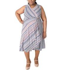 robbie bee plus size striped gathered-waist dress