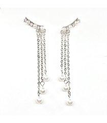 moda orecchini a goccia orecchini a catena lunga nappe imitazione perle orecchini gioielli eleganti per le donne