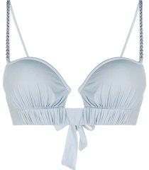 la perla ruched strap bikini bra - blue