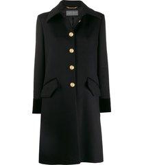 alberta ferretti single-breasted fitted coat - black
