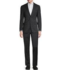calvin klein men's slim-fit plaid wool-blend suit - charcoal - size 42 l