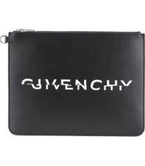givenchy split logo zipped clutch - preto