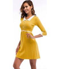 vestido de cintura de manga de cinco puntos con costuras de vestido mujer