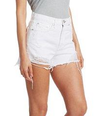 nina high-rise distressed denim shorts