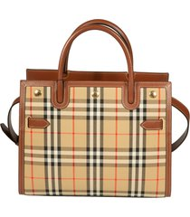 burberry checked dual handle tote