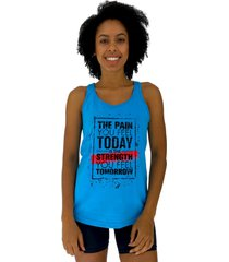 regata feminina alto conceito the pain you feel today azul piscina - azul - feminino - algodã£o - dafiti