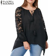 zanzea top de borla de ganchillo de encaje blusa de dobladillo asimétrico de manga larga para mujer -negro