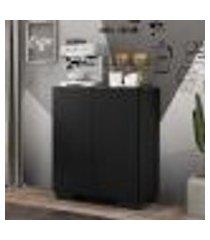 aparador cantinho do café com pés quadrados e 2 portas multimóveis preto