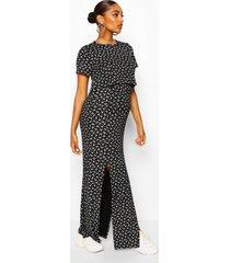 maternity ditsy split front nursing maxi dress, black
