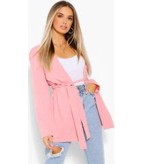 ruched waist duster jacket, blush