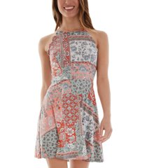 bcx juniors' printed fit & flare dress