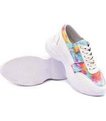 sapatenis casual su fashion store sneakers em tecido tie dye arco iris feminino - feminino