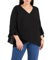plus size women's vince camuto flutter sleeve crossover georgette tunic top, size 2x - black