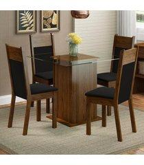 conjunto sala de jantar madesa miami mesa tampo de vidro com 4 cadeiras marrom - marrom - dafiti