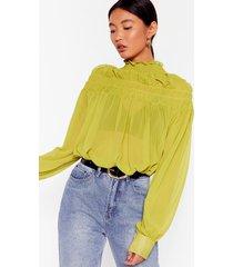 womens if it ain't got that swing chiffon shirred blouse - lime