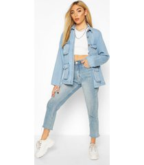 mock horn button utility pocket jean jacket, mid blue