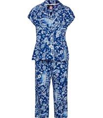 lrl notch collar capri pj set dolman sl pyjamas blå lauren ralph lauren homewear