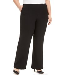 kasper plus size stretch crepe wide-leg pants