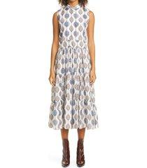 women's chloe ceramic print silk habutai midi dress, size 6 us - blue