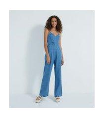 macacão longo jeans com alças finas transpassado | blue steel | azul | pp