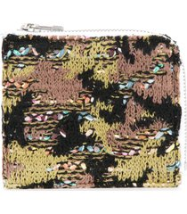 coohem knit tweed camouflage wallet - green
