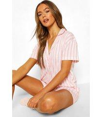 roze gestreepte jersey pyjama set met shorts, roze