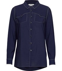 dhellie shirt overhemd met lange mouwen blauw denim hunter