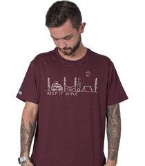 camiseta masculina keep it simple bordô