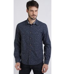 camisa masculina comfort estampada de folhagem manga longa azul marinho