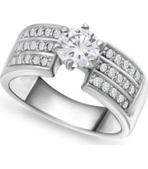 giani bernini cubic zirconia solitaire wide ring in sterling silver, created for macy's