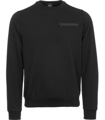 paul & shark yachting black crew neck zipped pocket sweatshirt a17p1804sf-011