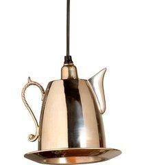 luminária pendente bule finley de metal para 1 lâmpada bivolt