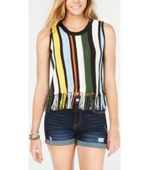 crave fame juniors' open-knit fringed tank top