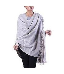 wool blend shawl, 'discreet taupe stripes' (india)