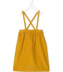tiny cottons corduroy pinafore dress - yellow
