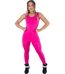macacã£o mvb modas longo saia tapa bumbum suplex rosa - rosa - feminino - poliã©ster - dafiti