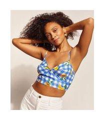 top cropped feminino emi beachwear estampado picnic frutas com alça fina e decote coração azul
