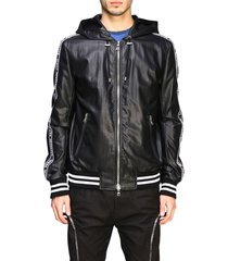 balmain jacket balmain hooded bomber in synthetic leather with logoed bands
