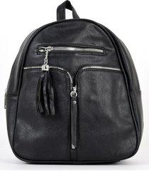 mochila 2 bolsillos con cierres negro mailea