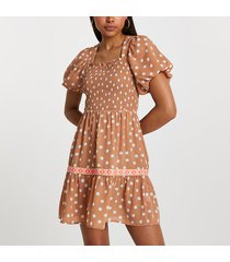 river island womens light brown puff sleeve square neck dress