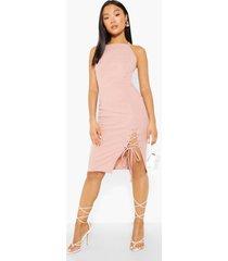 petite midi jurk met gekruiste jurk en split, blush