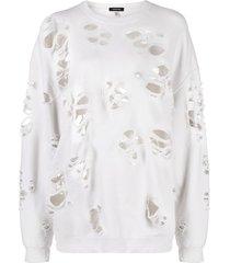 r13 distressed effect sweatshirt - neutrals