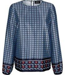glansig blus amy vermont ljusblå::flerfärgad