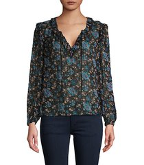 floral-print silk & cotton-blend top