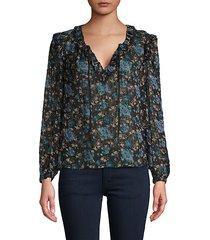 floral-print silk & cotton-blend top