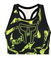 top de compressã£o spartanus fightwear yellow floor amarelo - preto - feminino - dafiti